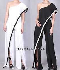 s one jumpsuit white black one shoulder ruffle slit wide leg jumpsuit dress
