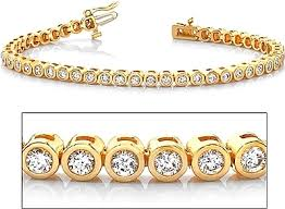 gold bracelet with diamonds images 18k yellow gold bezel set diamond tennis bracelet 2 60ct tw png