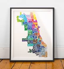 Chicago Neighborhood Map Chicago Neighborhood Map Art Print Chicago Wall Decor