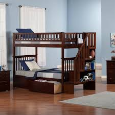 Staircase Bunk Beds Twin Over Full by Weston Twin Over Full Staircase Bunk Bed Finish Merlot