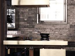 Brick Kitchen Backsplash by Interior Cool Grey Color Exposed Brick Kitchen Backsplash Built
