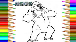 how to draw kingkong movie coloring book video for kids fun arts