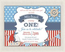 boys nautical theme 1st birthday invitation printable download