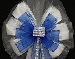 white and blue bows wedding pew bows etsy