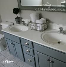 Finished Bathroom Ideas Pretty Distressed Bathroom Vanity Makeover With Latex Paint