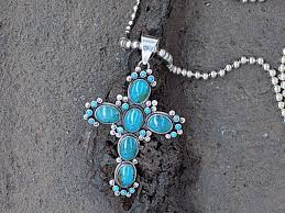 multi stone cross necklace images Turquoise six stone cross pendant with small accent stones cloud jpg