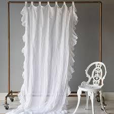 White Ruffle Curtain Panels Bella Notte Linens Linen Whisper Ruffled Curtain Luxury