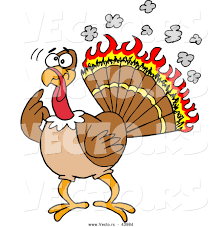 big bird thanksgiving cartoon vector of a confused cartoon turkey with flames burning his
