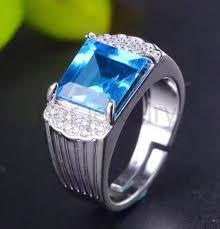 blue gem rings images Online shop men ring topaz ring natural real blue topaz 925 jpg
