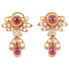chaumet earrings chaumet ruby diamond gold clip on earrings at 1stdibs