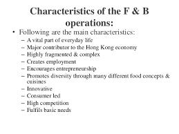 characteristics of cuisine hospitality food beverage service