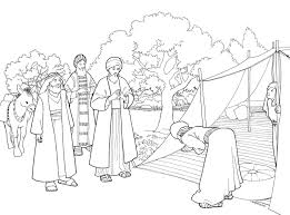 abraham and three visitors coloring page bible pictures