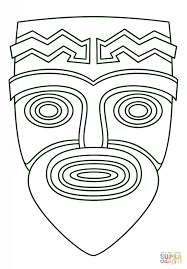 tiki face coloring page free printable coloring pages