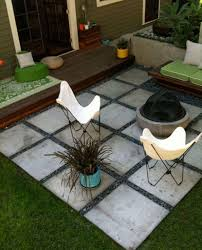 Small Backyard Idea Concrete Patio With White Chairs For Inexpensive Small Backyard