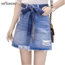 light wash denim skirt casual high waist denim skirt blue light wash women distressed mini
