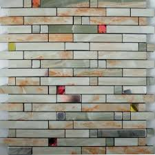adhesive mosaic tiles strip silver aluminum kitchen backsplash