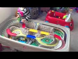 train and track table step2 deluxe canyon road train track table youtube