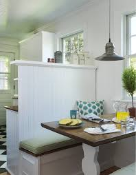 nook bench dining room beach style with wood paneling kitchen