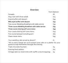 wedding price list photography price list template pricing