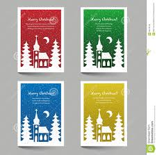 christmas cards with church doodle stock illustration image