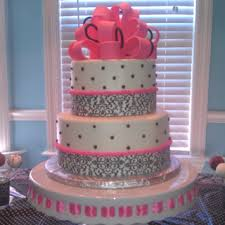 pink black and white baby shower cake birthday and special