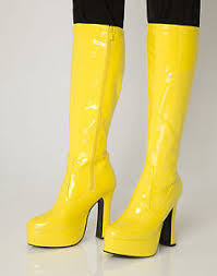 womens boots size 11 uk yellow go go boots s retro knee high platform boots size