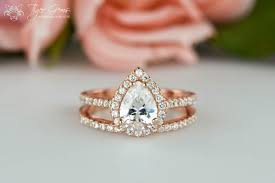 Teardrop Wedding Ring by 1 5 Ctw Rose Halo Engagement Ring Pear Cut Ring Wedding Band