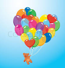 image with colorful balloons in heart shape and teddy bear on sky