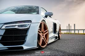 audi r8 gold hamana audi r8 v10 on gold vossen wheels front side angle