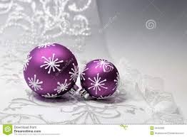 christmas beautifuls decoration in purple and silver on white