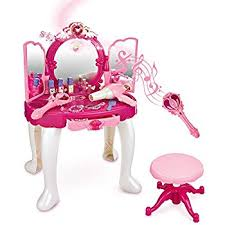 Disney Princess Vanity And Stool Amazon Com Princess Vanity Set Girls Toy With 16 Fashion U0026 Makeup