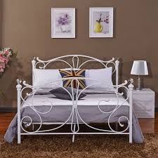 White Double Metal Bed Frame New 4ft 4ft6 Double 5ft King Size White Metal Bed Frame Bedstead