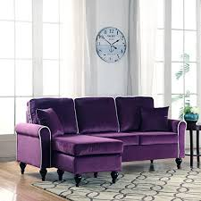 Sofa With Reversible Chaise Lounge by Classic And Traditional Small Space Velvet Sectional Sofa With