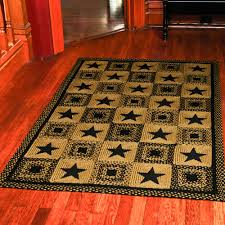 country star rectangle braided rug primitive black and tan or wine