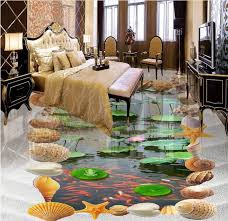 3d flooring custom wall paper nature murals lotus vinyl