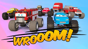 bigfoot presents meteor and the mighty monster trucks fire truck team vs monster truck team monster trucks for kids