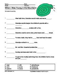 tikki tikki tembo worksheets when i was in the mountains questions printable worksheets