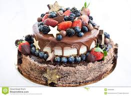 How To Decorate Chocolate Cake At Home Chocolate Cake With Icing Decorated With Fresh Fruit Stock Photo