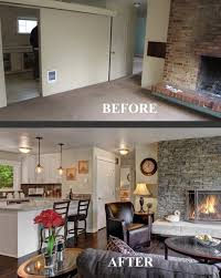 before and after family room transformation choppy floor plan no