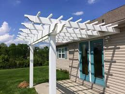 White Vinyl Pergola by White Classic Attached Vinyl Pergola Kit 12 U0027 Wide X 10 U0027 Projection