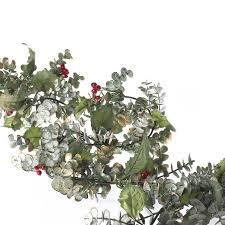 frosted artificial eucalyptus and garland florals