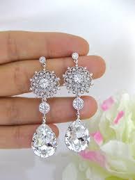 teardrop chandelier earrings clear white bridal earrings wedding jewelry swarovski