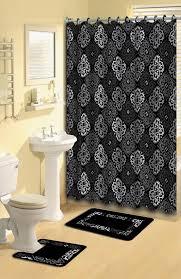 Contour Bath Rug Transitional 15 Pieces Shower Curtain Contour Bath Mat W Hooks