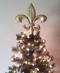 metal gold glitter fleur de lis crown christmas tree topper