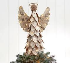 tree topper lit birch angel tree topper pottery barn