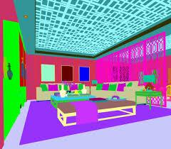 3d model balcony family living room restaurant design
