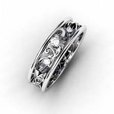 white gold vintage wedding bands ring 18k white gold wedding band filigree ring lace