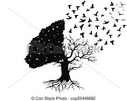isolated birds flying from the tree on white background vector