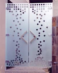 etched glass doors falling squares all glass courtyard doors by sans soucie art