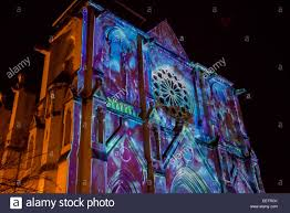 Christmas Projector Light Show by Sound And Light Show Projection On Saint Roch Church During Stock